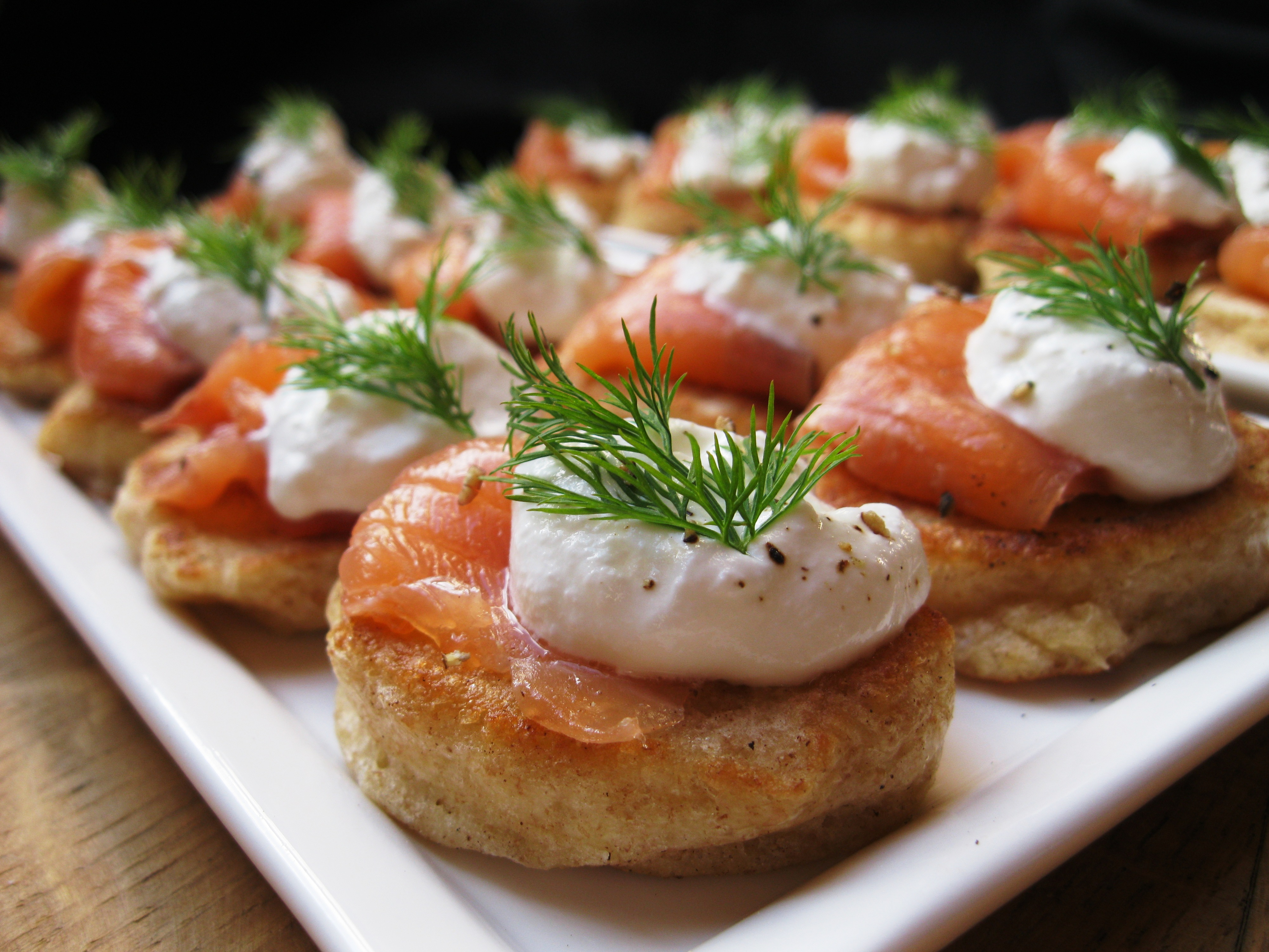 Blini with smoked salmon and dill